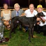 Sponsor AJS Corporation representatives with Above All, owner Merv O'Brien and trainer Rob Britton.