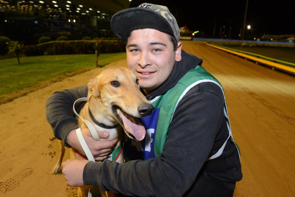 Correy Grenfell with Dyna Chancer after his Sandown Cup heat win
