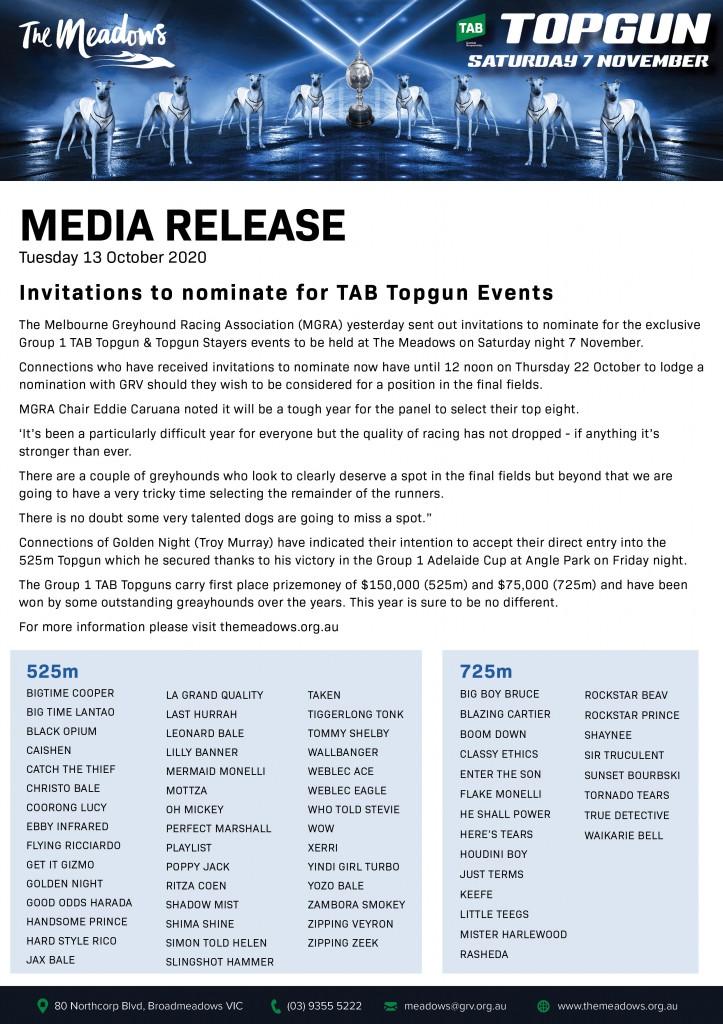 Media Release - 2020 TAB Topgun Invitation Amended