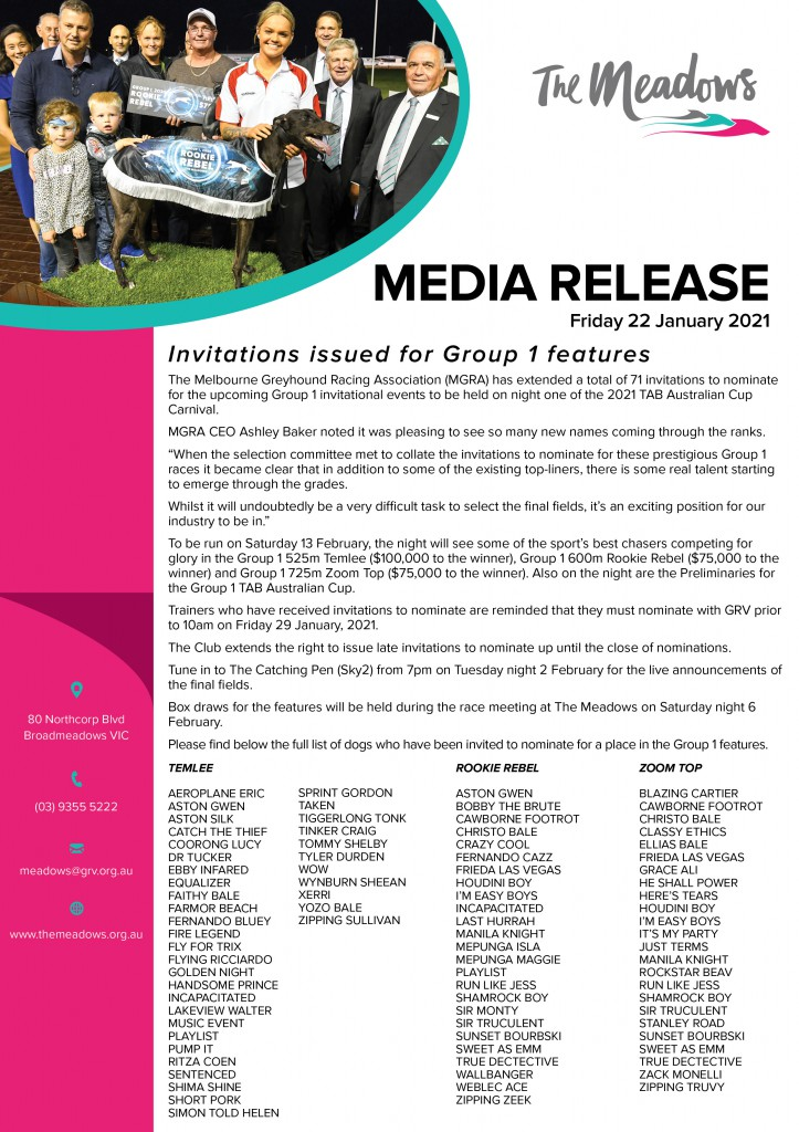 Media Release - 2021 Group 1 Invitationals